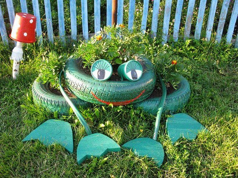 Лягушка из шин для сада и огорода мастер класс